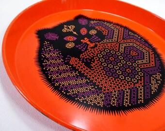 Crazy Cat Metal Serving Platter by Ducor Vintage 60's