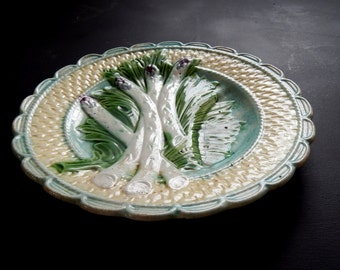 French Antique Asparagus Plate in Barbotine