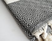 NEW / SALE 50 OFF/ BathStyle / Black / Diamond Style Turkish Beach Bath Towel Peshtemal