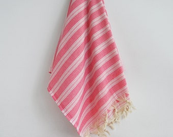 SALE 70 OFF/ Turkish Beach Bath Towel Peshtemal / Pink No1 / Wedding Gift, Spa, Swim, Pool Towels and Pareo