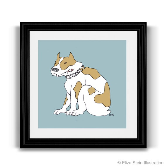 Bulldog Art Print, 10x10 Square, Spotted Tan and White Dog Poster