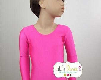 Neon Pink Leotard-Shiny (Child) Long Sleeve Leotard
