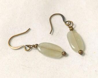 Pale Jade Green Oval Stones on Antiqued Brass Bronze Earrings