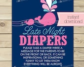 Whale Baby Shower Late Night Diaper Game Printable - Diaper Thoughts Message Game - Instant Download - Pink Girl Nautical Baby Shower