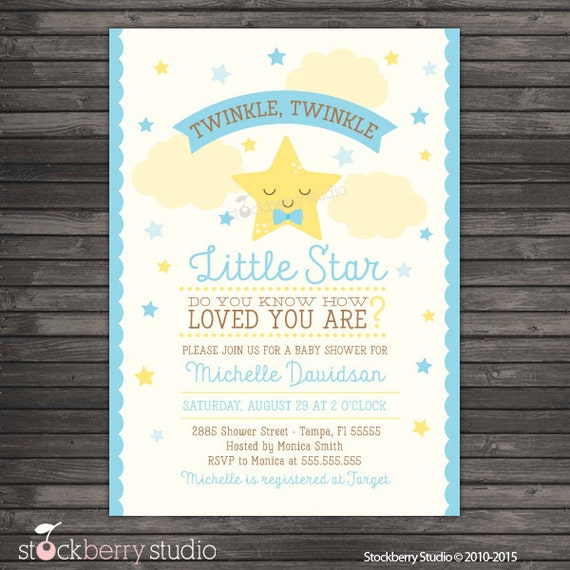 boy twinkle twinkle baby shower invitation printable boy baby
