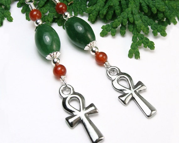 Ankh Cross Earrings, African Jade, Carnelian, Sterling Silver, OOAK Jewelry