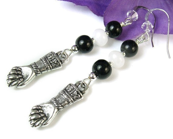 Good Luck Earrings, Figa Hand Charm, Black Obsidian, White Quartz Beads, Crystals, Handmade Beaded Dangles, Bohemian Jewelry