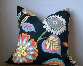 Designer Fabric large floral black turquoise orange blue pink green yellow cream off white outdoor indoor toss pillow cover decorative