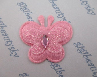 glitter pink/yellow/purple padded butterfly appliques