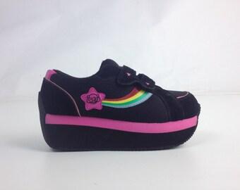 90's Kawaii Rainbow Shooting Star Pink Stripe Platform Wedge Velcro Sneakers // 8