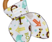 Natural Organic Maple Wooden Teething Ring Toy - Bunny Ears in Elephant, Giraffe Zoo Fabric and Gray Minky - FREE SHIPPING