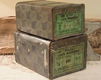 Two Vintage Stackable Metal Bins / Urban Industrial / Metal Storage / Studio Storage / Atlas Metal Bins