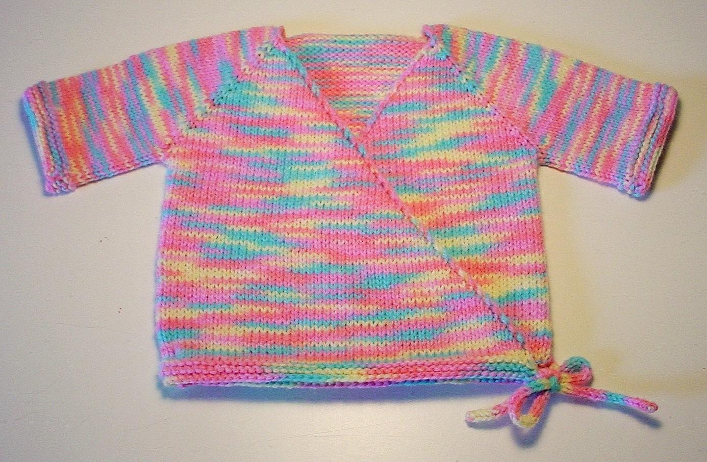 Knitting Pattern For Kimono Wrap : Hand Knit Pastel Baby Kimono Sweater Shower Gift Wrap