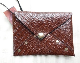 Alligator Embosed Leather Wristlet - READY TO SHIP