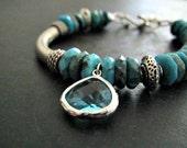 Natural Turquoise Bracelet | Artisan Bracelet | Asymmetrical Bracelet | Bali Bracelet | Adjustable Bracelet | Sterling Silver Jewelry