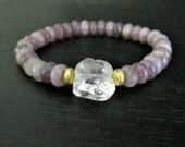 Lepidolite Bracelet | Lilac Stone Bracelet | Stack Bracelet | Layering Jewelry | Gold Bracelet |  Lavender Purple Jewelry | Bohemian