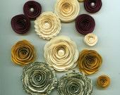 Plum, Mustard and Ivory Handmade Paper Flower Mix