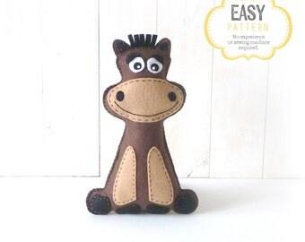 Stuffed Horse Sewing Pattern, Plush Horse Sewing Pattern, Felt Horse Pattern, Instant Download, Horse Plushie, Horse Softie