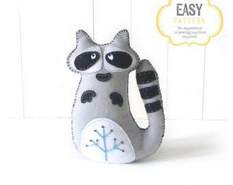 Raccoon Sewing Pattern, Felt Raccoon Plush Softie, Woodland Raccoon Pattern, Raccoon Plushie, Raccoon Stuffie
