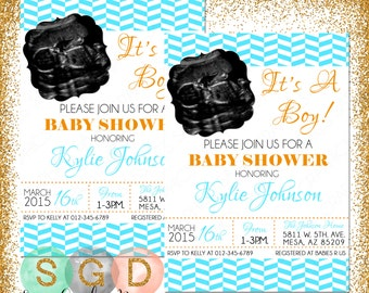 Boys Baby Shower Invitation with ultrasound picture, DIY Invite, PDF Invite, Baby Shower Invite, Boy Baby Invite, blue, orange (Item #25)