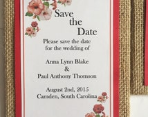 Save the Date Magnet Cards, Burlap Save the Date Cards, Rustic Save the Date Cards, Personalized Save the Date Cards