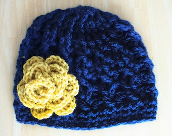 Cable Knit hat for baby girls, newborn girl hat, hospital hat, navy blue and mustard yellow, Notre Dame baby girl, Newborn to 12 month sizes