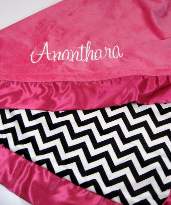 JUST ONE LEFT Baby Gift Set in Hot Pink with Black and White Chevron