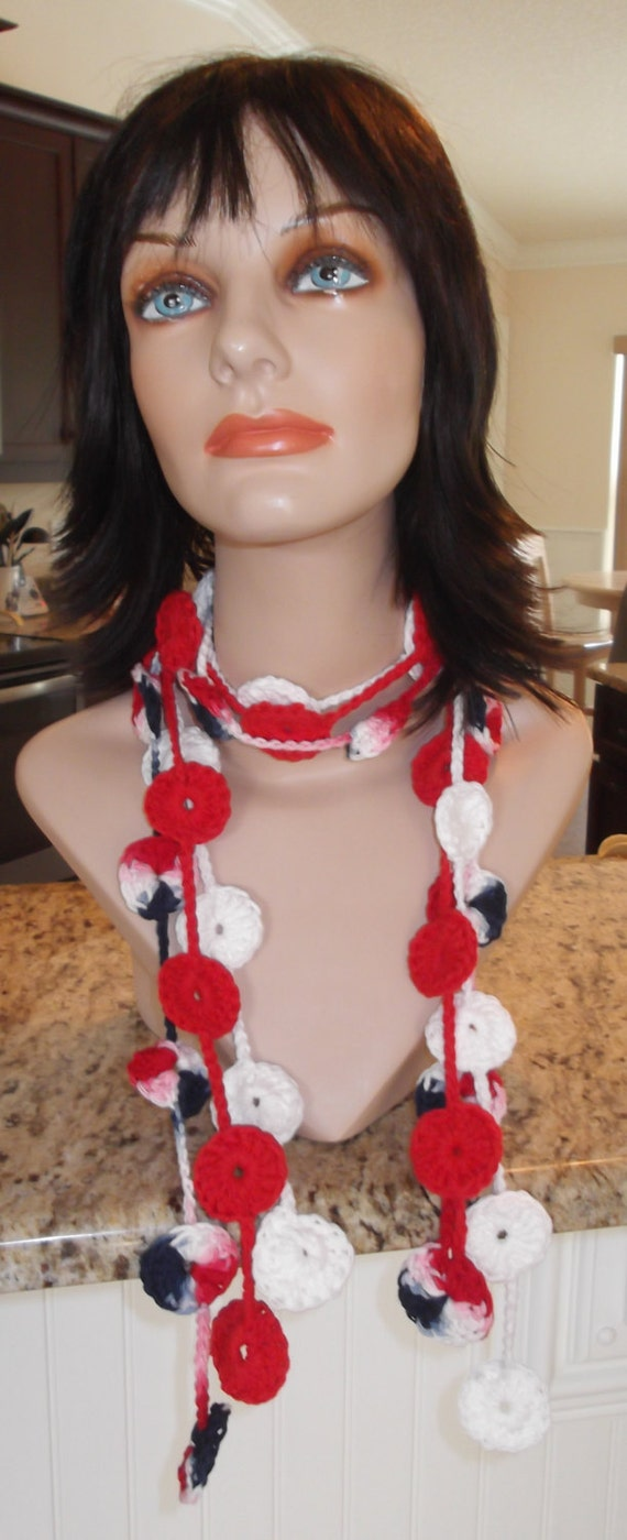 Crochet Medallion Lariat Scarf Women's Teen's Crochet Cotton Medallion Lariat Scarf