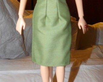 Fashion Doll Coordinates - Solid sage green a-line skirt - es342