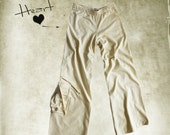 Pant french terry/Women pull on/Cargo pocket heart/Off white pastel