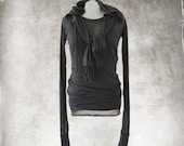 Black top set/Scarf hood and shirt/long sleeve boat neck