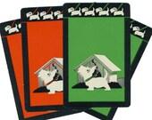 PUPPY MARCH (4) Vintage Single Swap Playing Cards Paper Ephemera Scrapbook