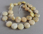 Jade, Yellow Jade, Smooth Coin Beads, Smooth Beads, 15 inches