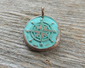 Copper Compass Pendant, Verdigris Patina, Handmade Copper, Wax Seal Compass, Artisan Jewelry, Artisan Handcrafted