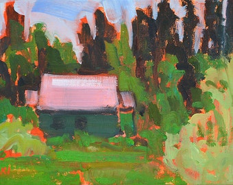 Cottage in the Woods, McCall Idaho- Oil Landscape Painting