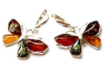 "Baltic Amber Jewelry Butterfly Earrings Multicolor Dangling 1.22"" 925 Silver"