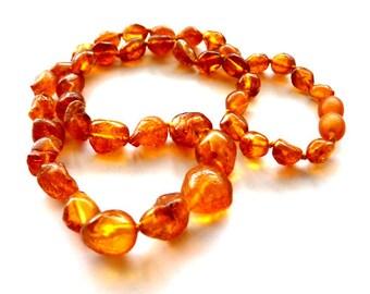 "Baltic Amber Raw Nodules Drops Necklace Natural Untreated Drops 17"" 13.3 gram"