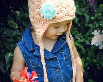 Girls Hat   Earflap hat   Crocheted Flower Hat   Peach Hat with Shabby Flower   Baby Hat   Toddler Hat   Tween Hat   Girls Accessories