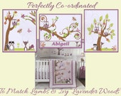 Lavender Woods by Lambs and Ivy Nursery Prints PERSONALIZED for FREE wall art décor baby girl pink ivory green match nursery bedding #497