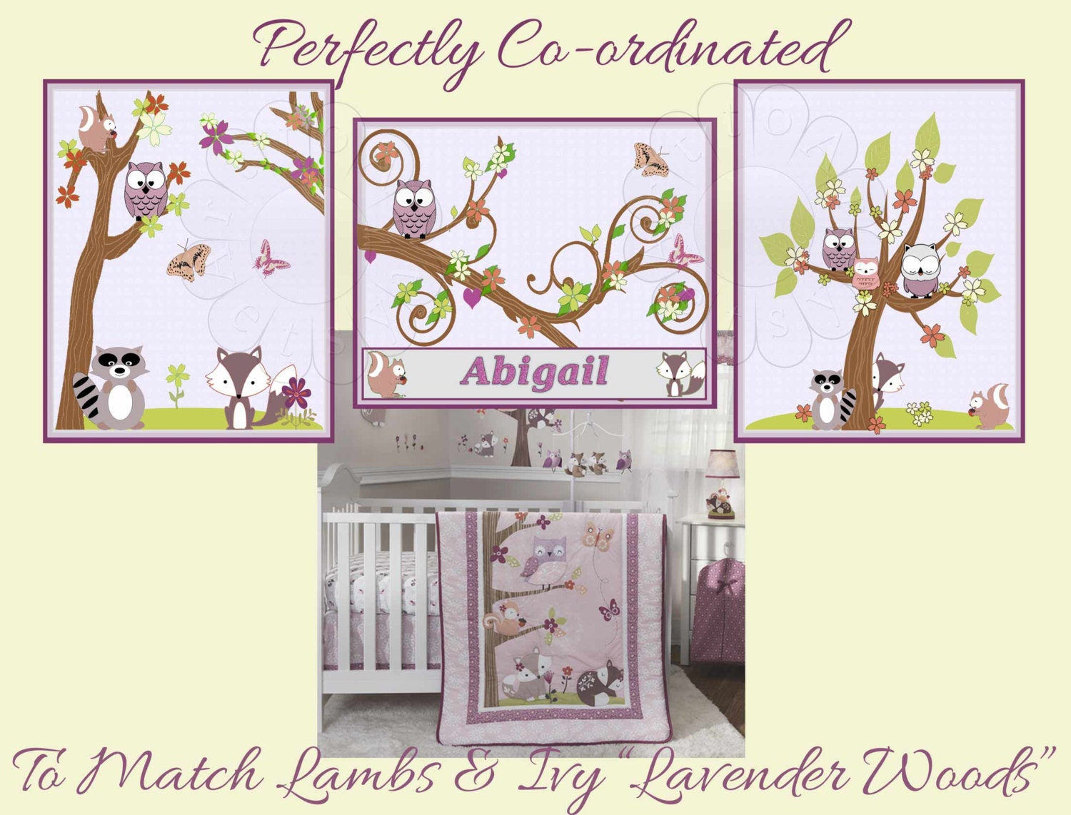 Lavender woods by lambs and ivy nursery prints personalized zoom negle Image collections