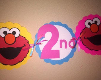 Girly Elmo Party Banner