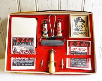 Vintage E-Z Do Printing Set - Complete in Box - Youth Linoleum Block Printing Set - Mid-Century 1950s 1960s