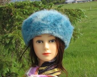 Turquoise Alpaca Knit Felt Furry Tam Beret Hat Crusher