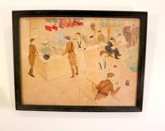 Antique World War I Watercolor Artwork