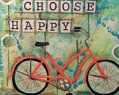 Choose HAPPY - ACEO / ATC Print - Beach Bike, Summer Fun, Inspirational Motivational Art, Unique Mixed Media Art
