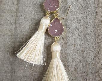 Druzy Earrings, Tassel Earrings, Drusy Earrings, Druzy Quartz Jewelry, Tassel Jewelry