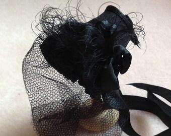 Miniature handmade 1/12 dollhouse beautiful blacl silk mourning bonnet