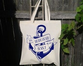 Anchor Tote Bag, Bridesmaid, Maid of Honor, Flower Girl, Personalized Wedding Tote