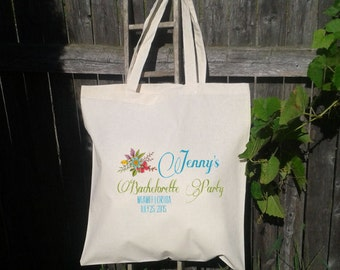 12 Bachelorette Party - Wedding Welcome Tote -Bridesmaid Tote - Wedding Party - Flowers