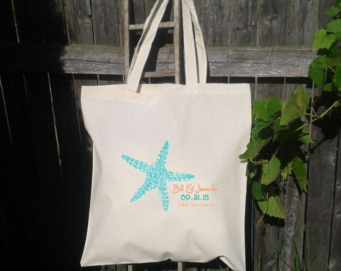 Starfish Wedding Beach Bag, Wedding Welcome Tote Bag, Customize to your destination